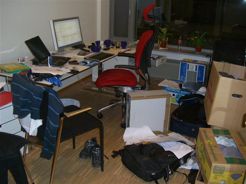 My office the night before departure.