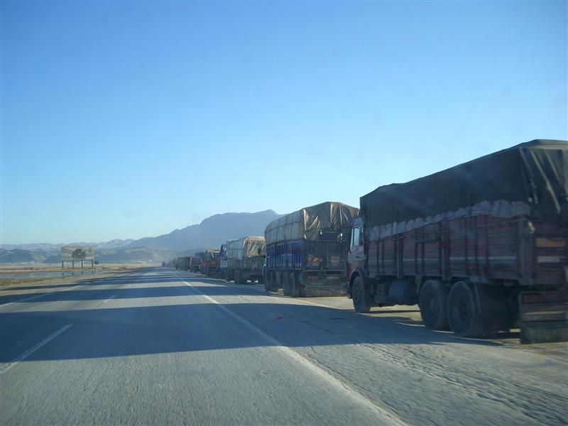Many kilometers of trucks waiting to enter Iraq.