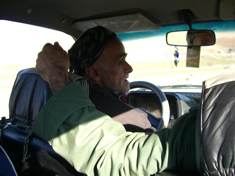 Taxi driver taking us from the border to Piranshahr.