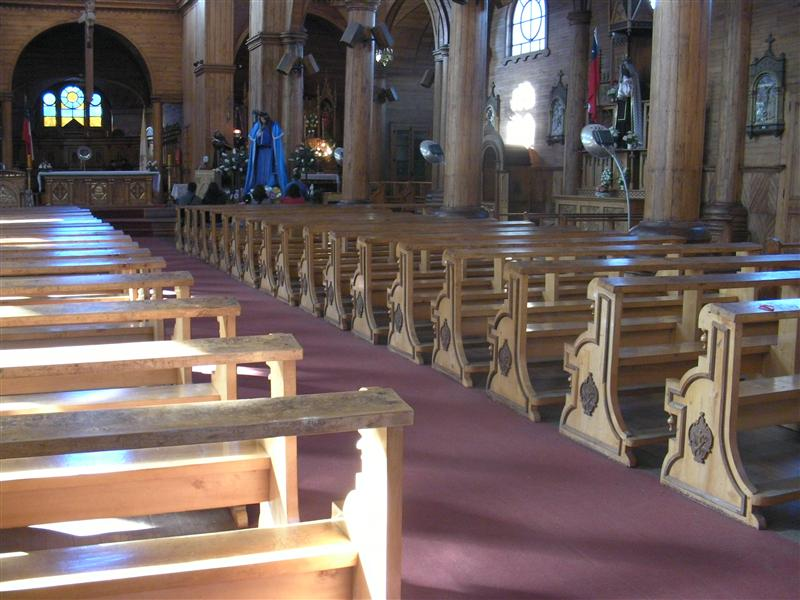 Wooden benches in church