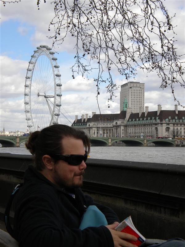 Chris with the London Eye coming out of his head