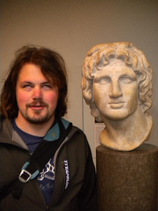 Chris impersonating Alexander the Great.  British Museum