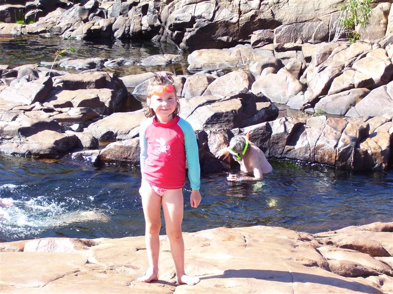 Caitlin swimming in yet another rock pool