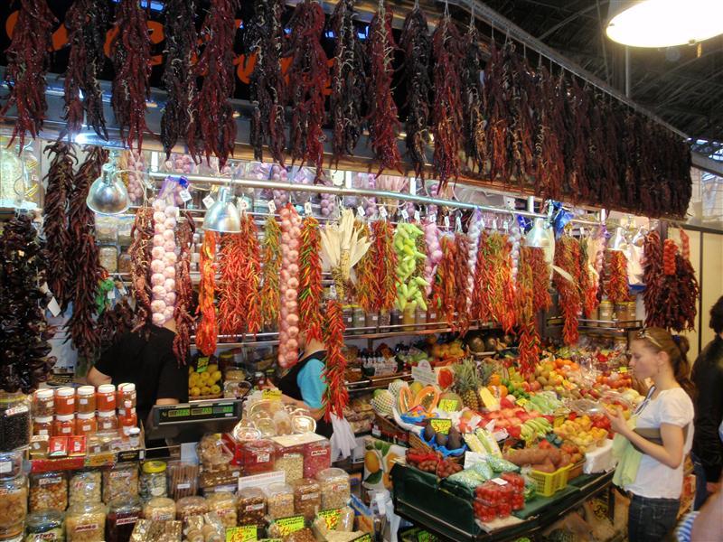 The market in Barcelona off of Las Ramblas