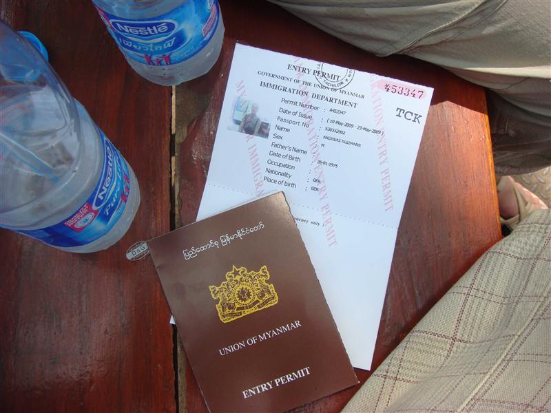 Uebergangspass/-visa fuer Myanmar