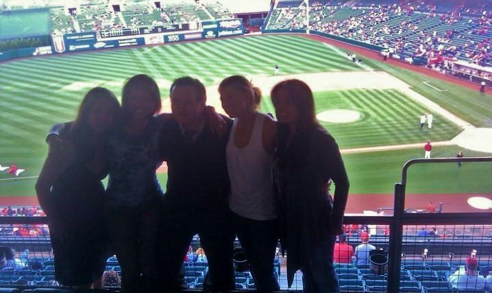 Me, Meghan, Matt and firends at the Angel's Baseball game