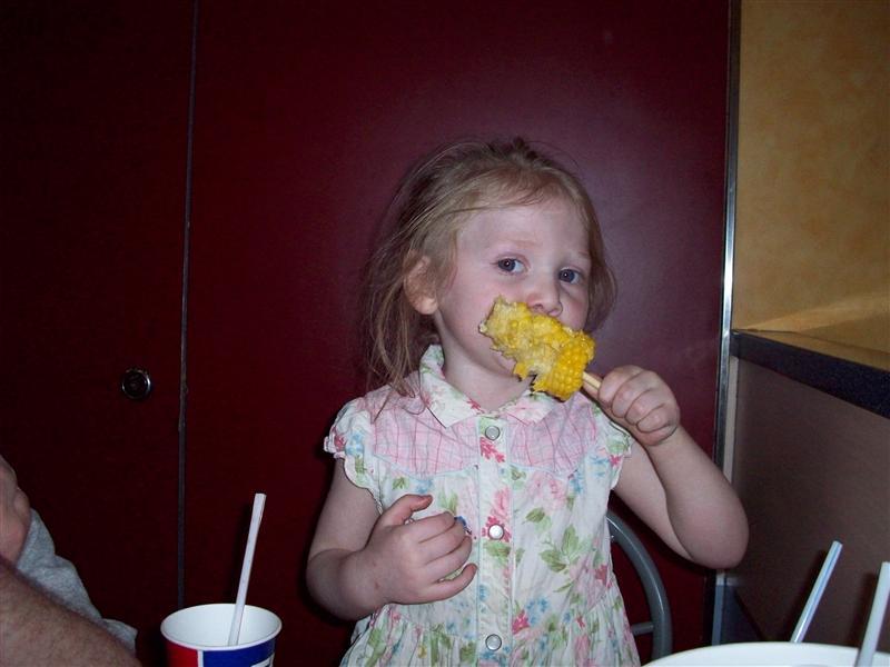 Eating corn at KFC