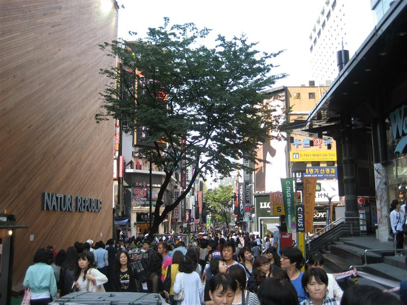 Busy Myeongdong Street