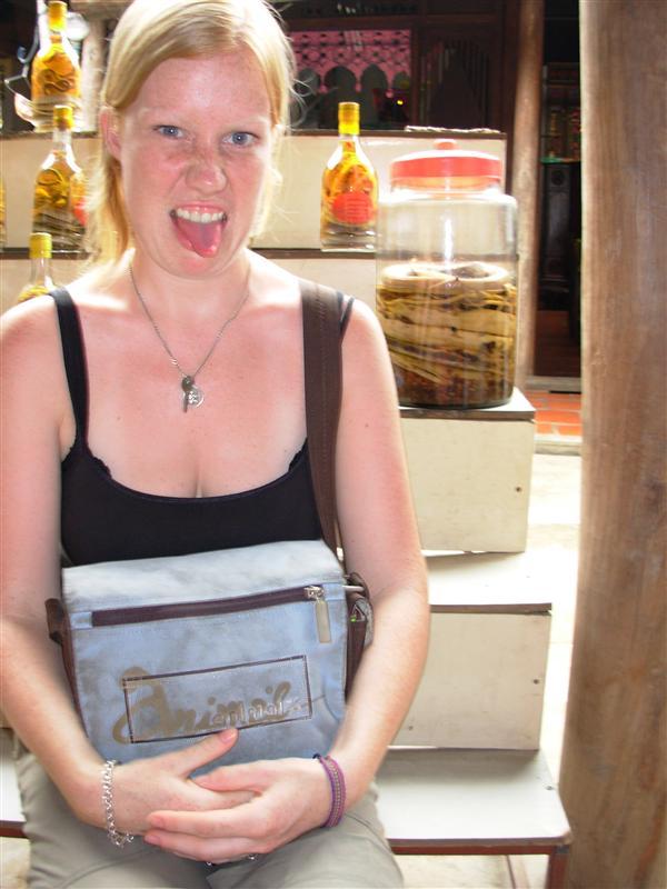 Erin not loving the Snake Wine