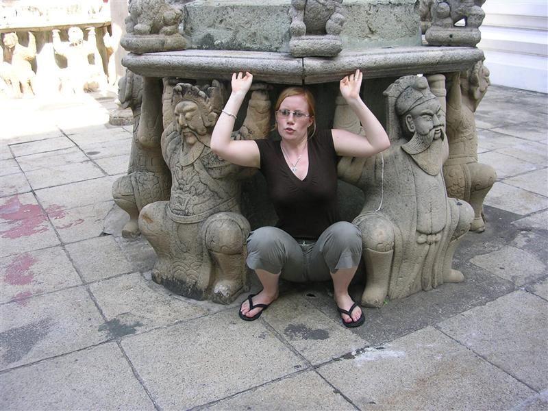 Erin squatting