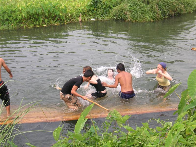 Overboard on bamboo raft
