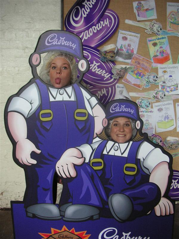 Tay and Murph making chocolate at the Cadbury's Factory