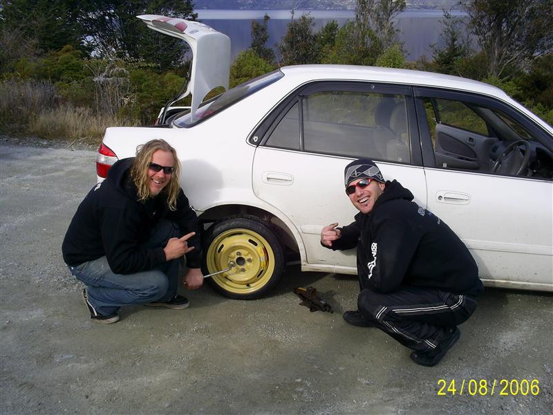 Hero boys replacing tyre