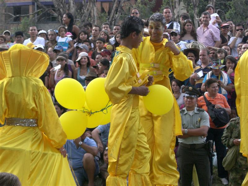 Yellow Men on Stilts