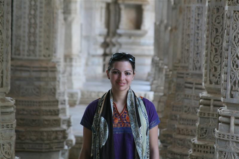 Patricia in the middle of the amazingly detailed Ranakpur temple