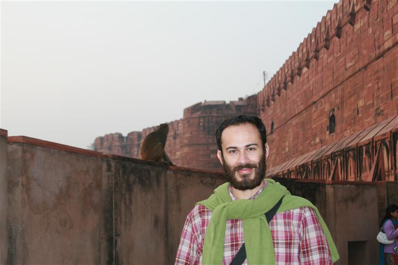 Agra Fort and two monkeys