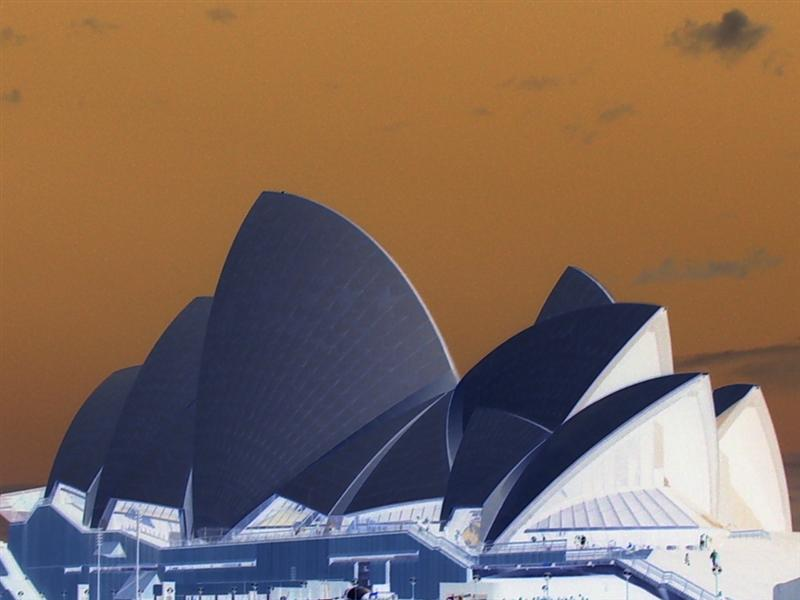 Sydney Opera House, taken as a negative.