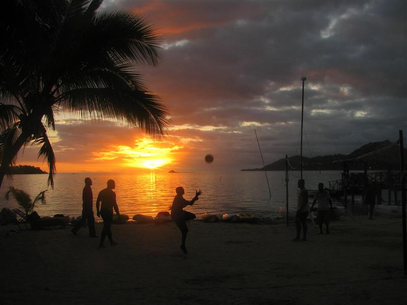 playing volleyball at the beach. everyday. Walu Beach, Malolo Island, Fiji