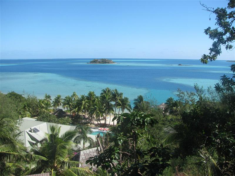 View from one of the lodges on our pool area, beach and reef