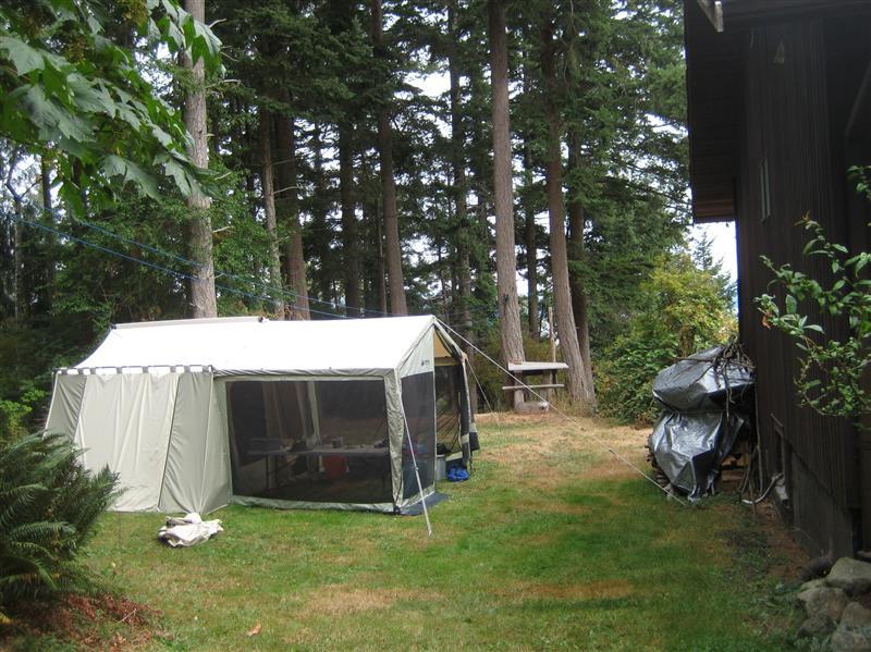 Camping in Barry's garden on Quadra Island