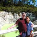 Victoria and Robert with green lime coloured smelly hot spring