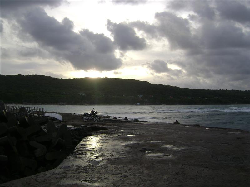 sunset along the port