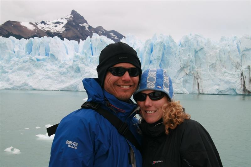 Infront of the glacier on the boat