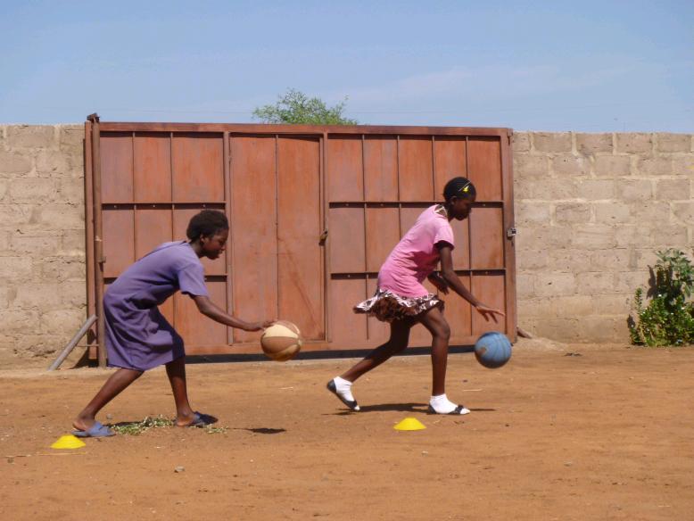 Practicing the basketball skills